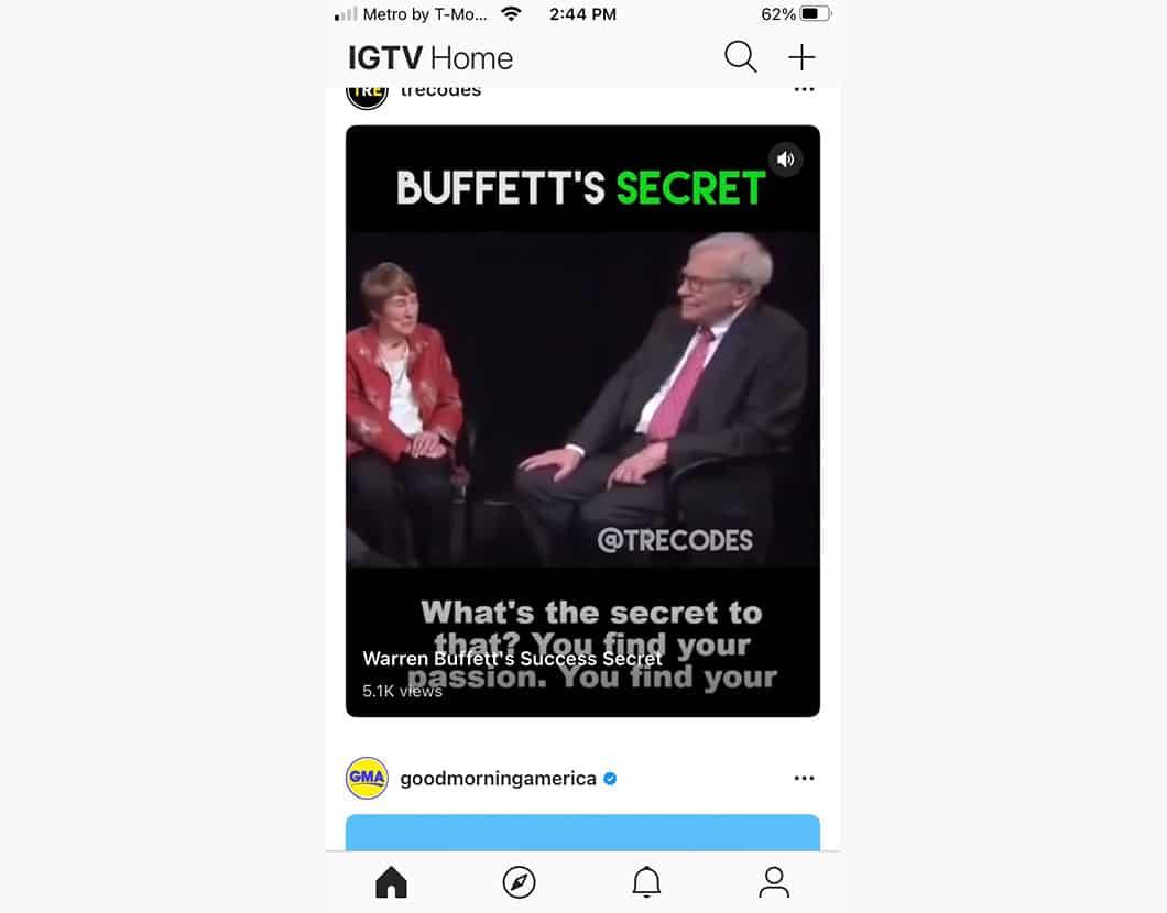 IGTV post called Buffett's Secret with Warren Buffet being interviewed.