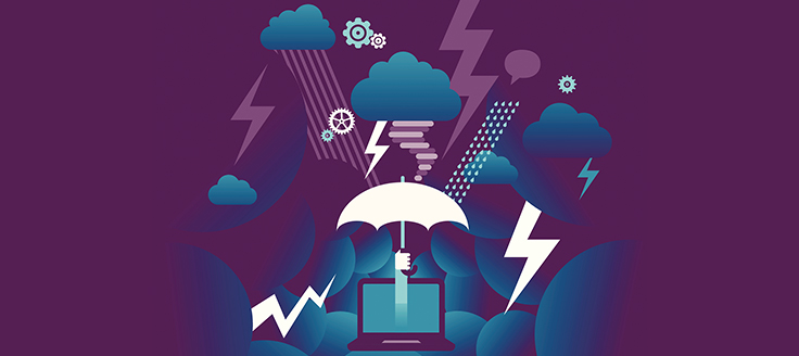 Purple background with stormy skies, clouds and a hand holding an umbrella over a computer