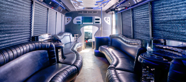 The interior of a luxury limo