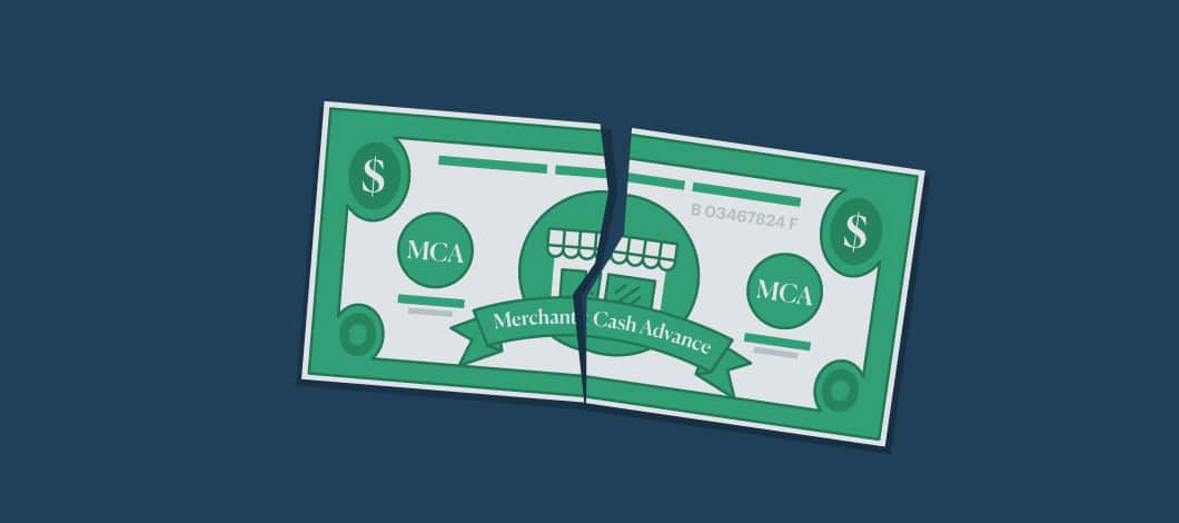 """A torn green monetary bill with the words """"Merchant Cash Advance"""" on it"""
