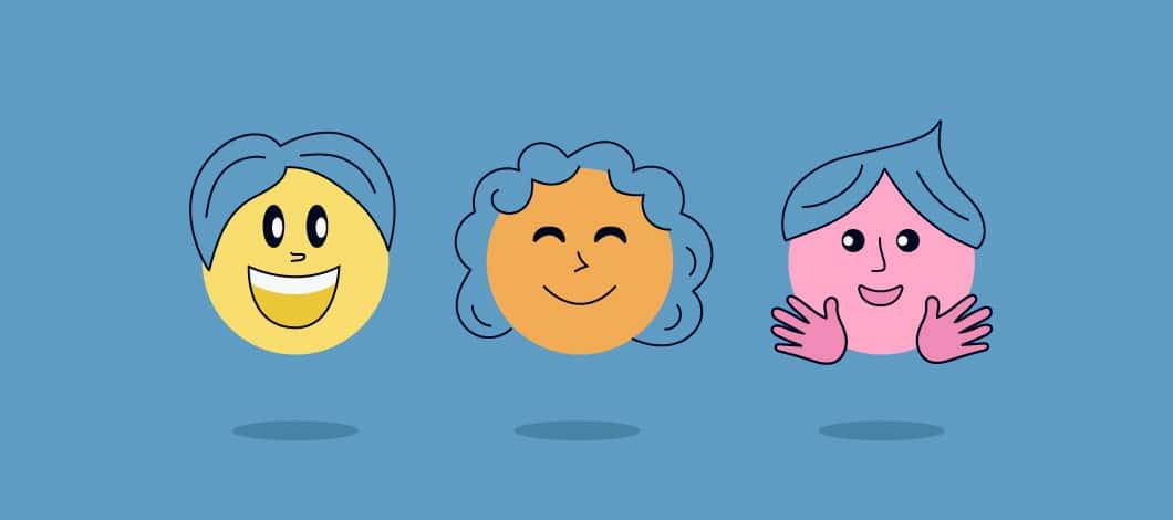 Three happy emoji faces