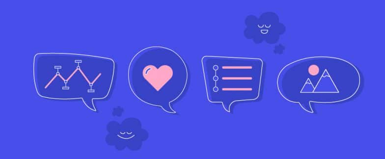 Blue background with text bubble icons with different graphics inside each, including a heart, mountain, graphs and lines.