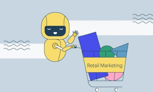 "An android pushes a shopping cart full of groceries that reads ""Retail Marketing."""