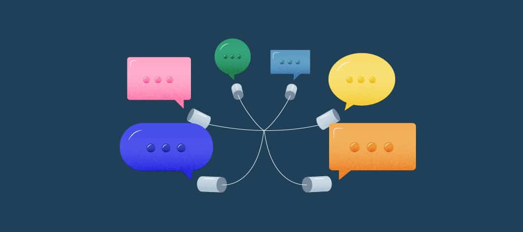 Different colored text bubbles, each with a microphone; all the microphones are connected