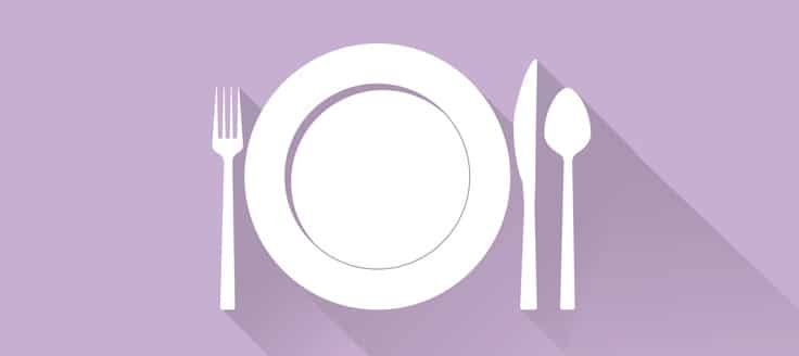 A place setting on a dining table.