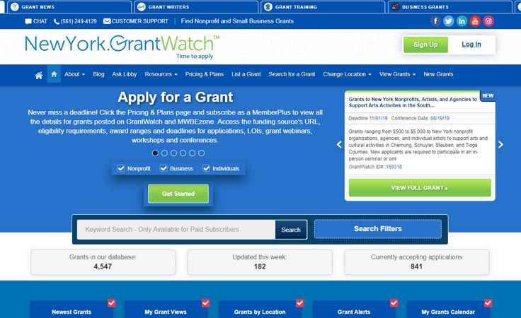 Applying for a grant online