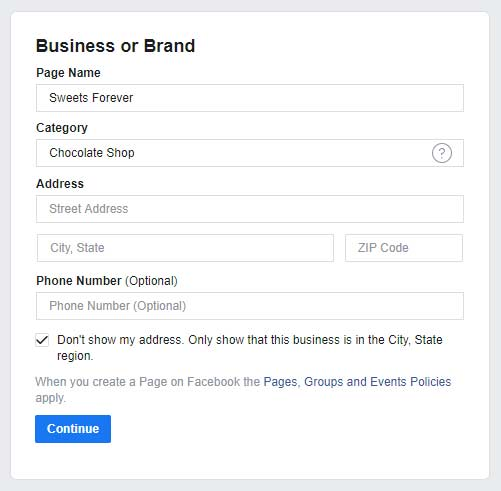 For the Category field, enter a keyword that closely fits the nature of your business.