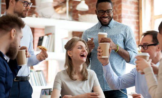 employees enjoying fringe benefits at work