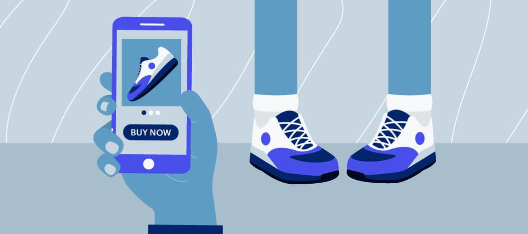 "Blue background with a person wearing sneakers in the background and a hand holding a mobile device with an image of a shoe and the words ""Buy Now""."