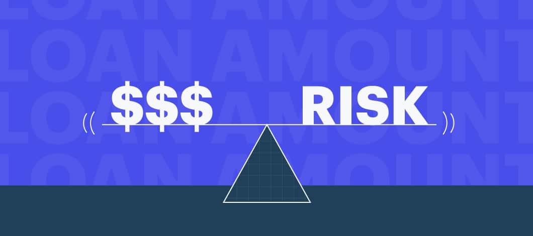 "A concept illustration in which money (dollar signs) are balanced against the word ""risk."""