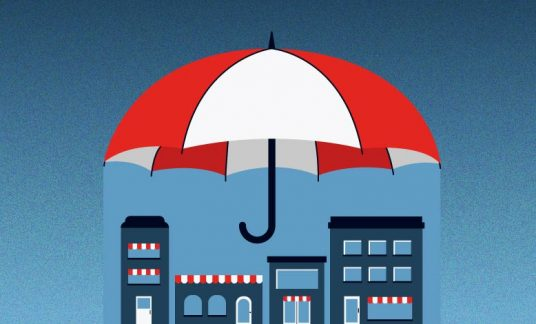Umbrella over businesses