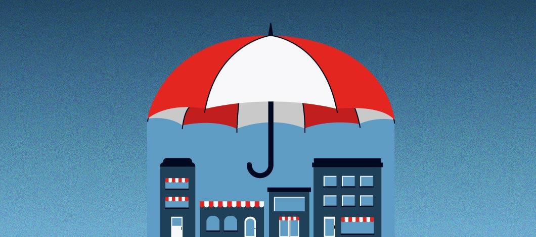 Umbrella over businesses