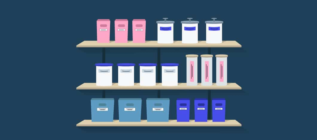 Blue background with image of shelves and canisters of varying sizes and colors on each shelf.