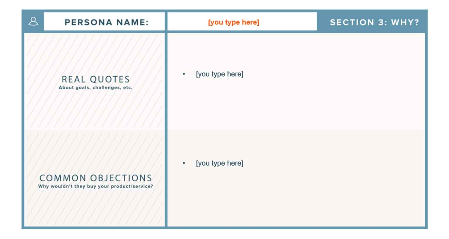 Section 3 of a free template from HubSpot.