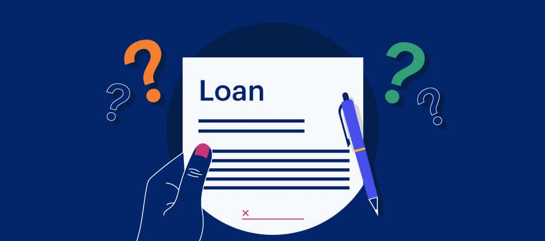 Dark blue background with a graphic of a hand holding a loan document with question marks around