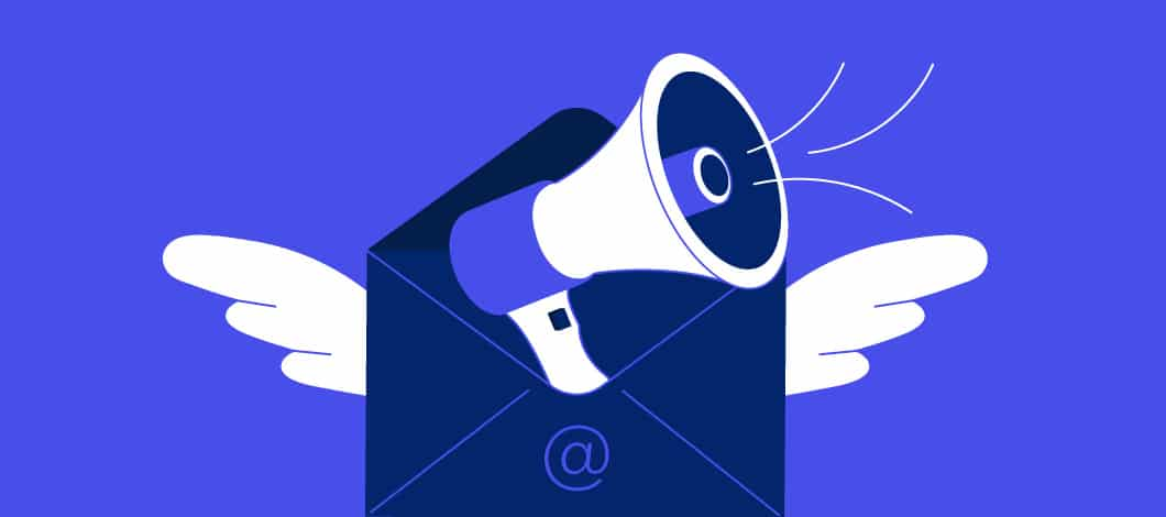 A torso of a person shouting from a bullhorn pops out of an email envelope.