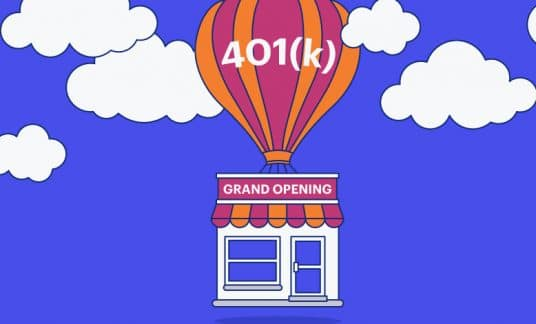 """A hot-air balloon labeled """"401(k)"""" is hoisting a small shop with a banner that reads, """"Grand Opening."""""""