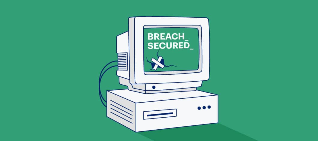 """A damaged computer is repaired. The screen says, """"Breach Secured."""""""