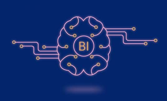 "A digital brain is labeled ""BI"" for business intelligence."