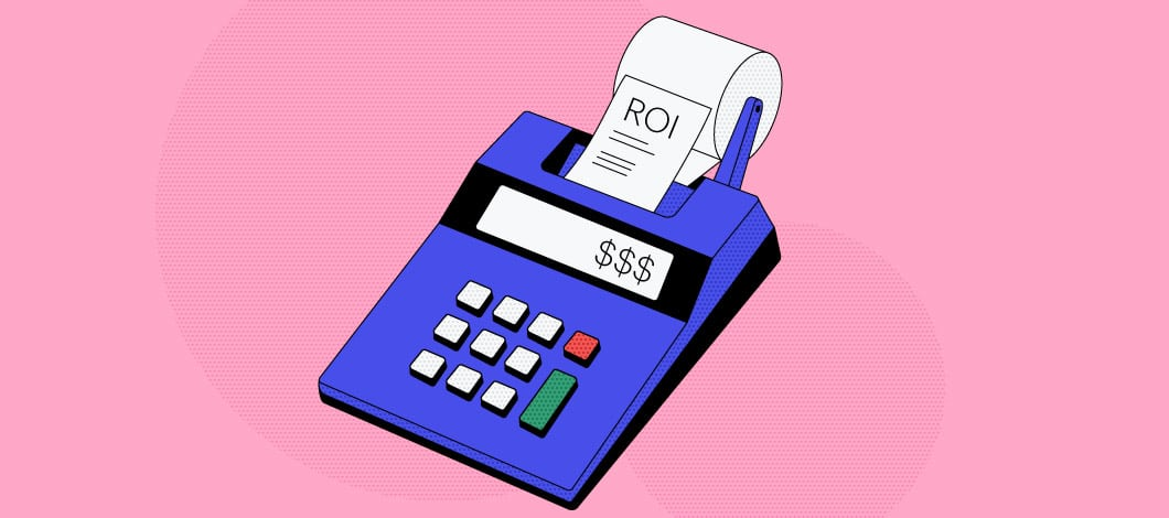 Pink background with a blue adding machine in the center. Dollar signs are on the screen and the adding tape says ROI.