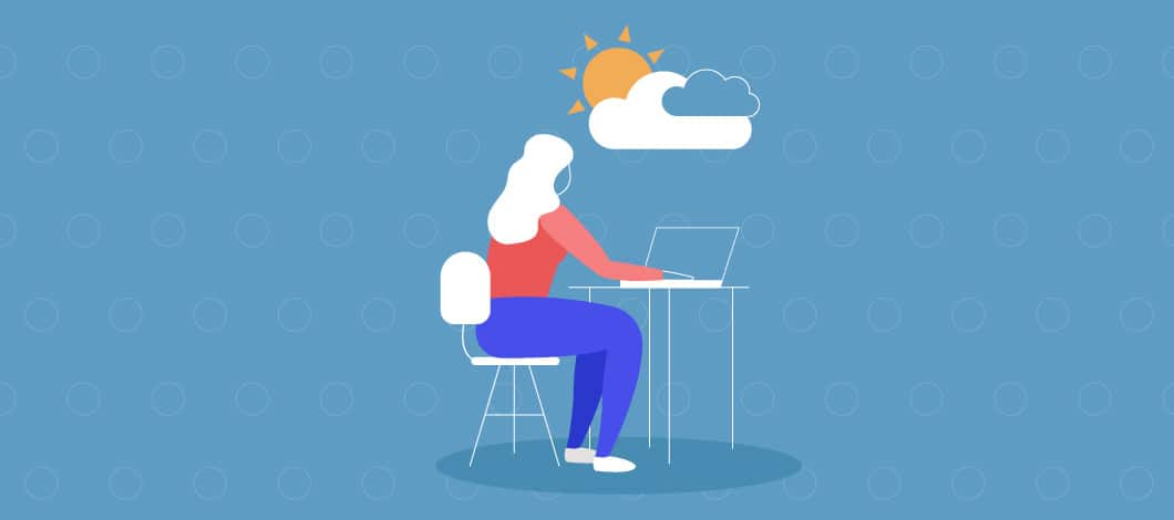 A worker sits at her desk. There is a white puffy cloud -- complete with the sun peeking out -- above her.