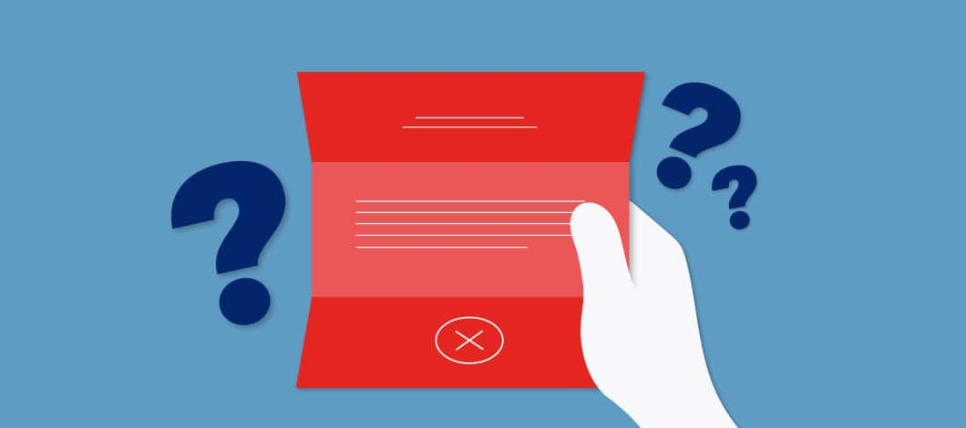 Blue background with graphic of a hand holding a red paper with an X on it and question marks around the paper.