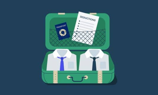 A suitcase filled with shirts, ties, a passport and a paper listing deductions.