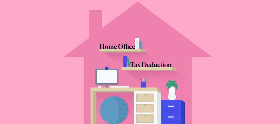 "Pink background with an outline of a house and shelving that says ""home office"" and ""tax deduction"" inside with a desk below"