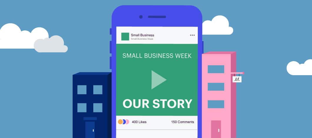 A smartphone promoting Small Business Week story sits between two small shops.
