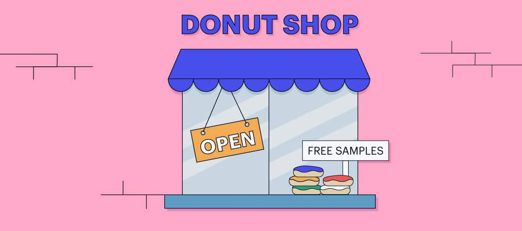 A doughnut shop offers free samples for customers.