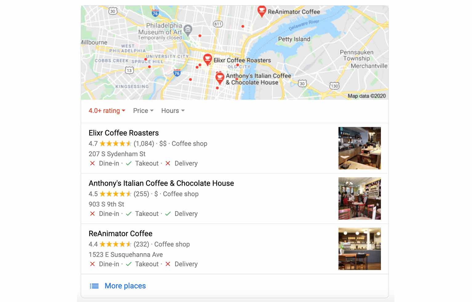 """Google results for """"best coffee shop"""" show local results to match what the user is looking for."""