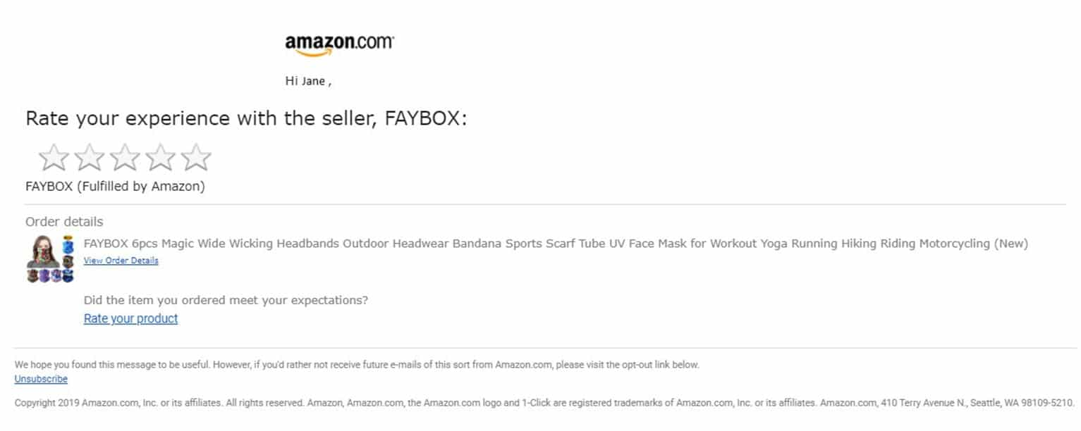 """A """"rate your experience"""" email from Amazon, showing an image and a description of the item purchased along with a link to give the rating."""
