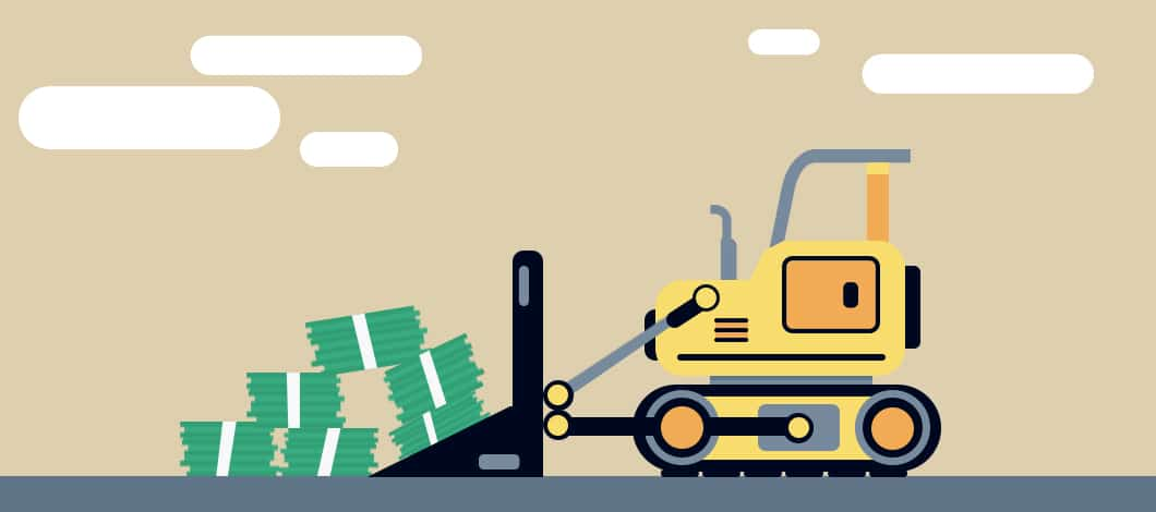 A bulldozer pushes a pile of dollar bills.