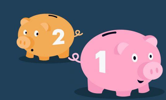 A pink piggy bank with the number 1 on it and an orange one with the number 2 on it