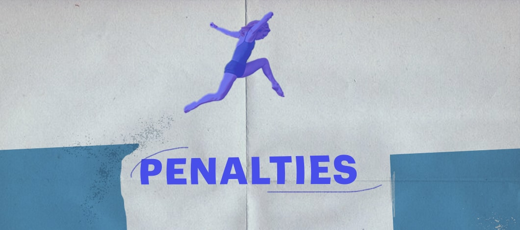 """A woman leaps over a pit labeled """"Penalties."""""""