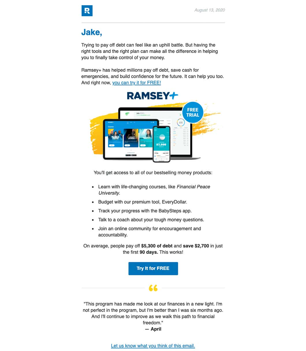 Promotional Email Example: Dave Ramsey