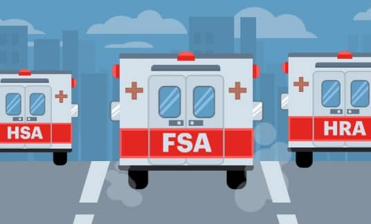 """Three ambulances, one labeled """"HSA,"""" the other """"FSA"""" and the last """"HRA,"""" race down a city street."""