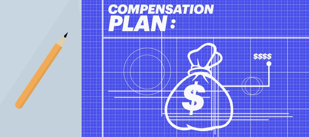 "A blueprint labeled ""Compensation Plan"" depicts an outline of a sack of cash marked with a dollar sign."