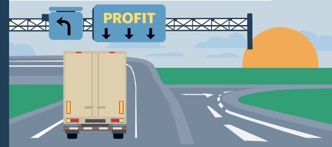 """We see the back view of a cargo truck on a highway. A sign above reads """"Profit."""""""