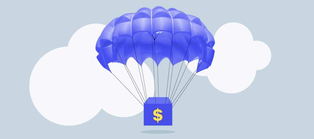 A stack of bills parachutes down from the sky.