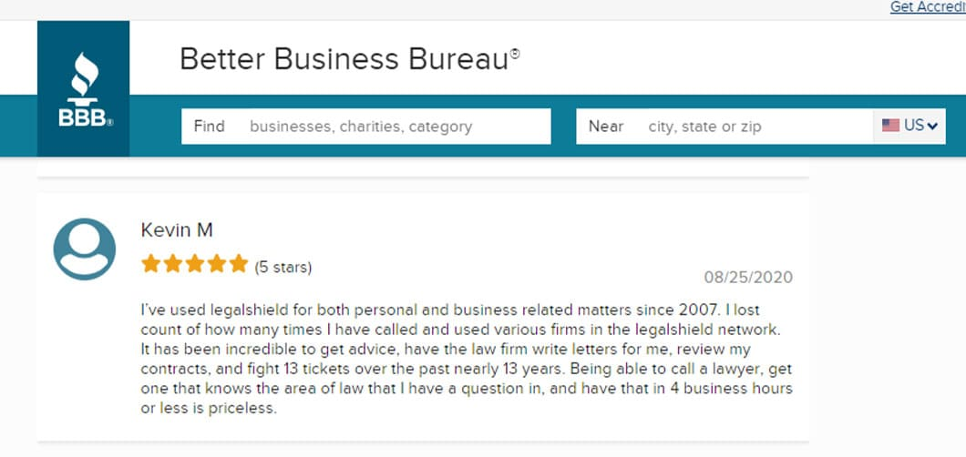 Individual 5-star rating and written review of LegalShield on the Better Business Bureau website