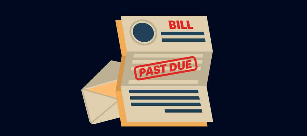 """This is a close-up of a document labeled """"Bill"""" with the words """"Past Due"""" stamped on it with red ink."""