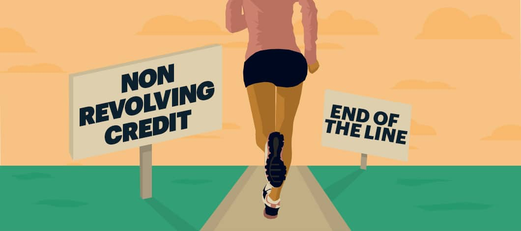 """A runner jogs down a path that is marked with a sign that reads """"Nonrevolving Credit."""" The runner is near the end of the path, which is marked with another sign declaring """"End of the Line."""""""