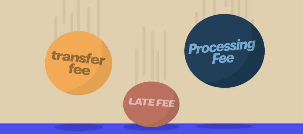 """Three balls drop to the ground. One is labeled """"Transfer Fee,"""" the other is """"Late Fee"""" and the third is """"Processing Fee."""""""