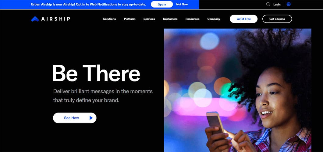 Airship makes reaching out to customers at every step of a customer's life cycle possible using its push notifications, email, text messages and in-app messaging feature.