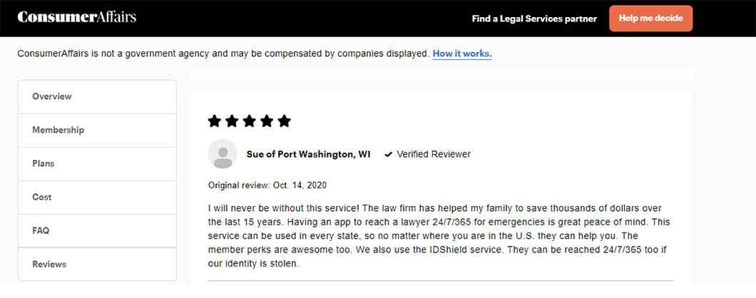 Individual 5-star rating and written review of LegalShield on Consumer Affairs