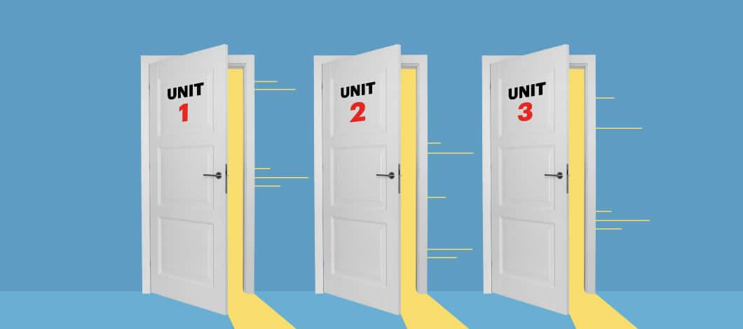 Three white doors, with Unit 1, Unit 2 and Unit 3 written on each, respectively