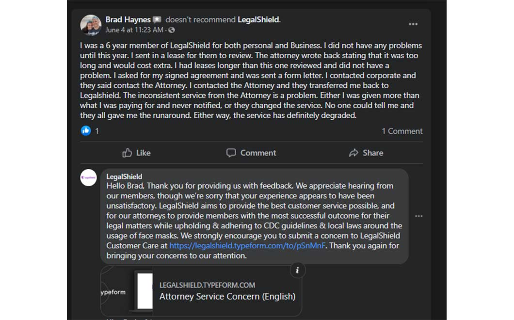 Facebook complaint from LegalShield user, along with LegalShield's response to the complaint
