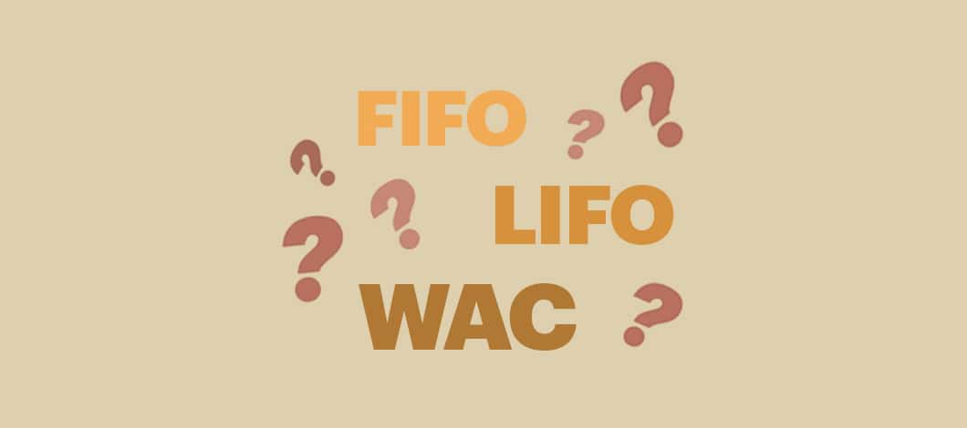 """The letters """"FIFO,"""" """"LIFO"""" and """"WAC"""" float about surrounded by question marks."""