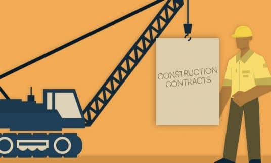 """A crane hoists a large document that reads """"Construction Contracts"""" toward a construction worker wearing a hard hat."""